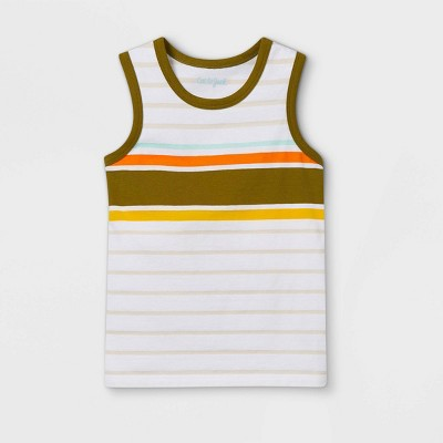 Toddler Boys' Striped Knit Tank Top - Cat & Jack™ Olive Green