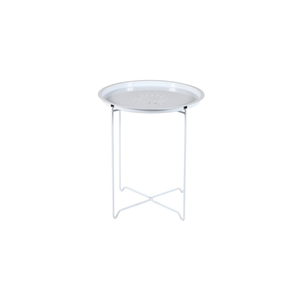 Round Metal Accent Table - White - Fox Hill Trading
