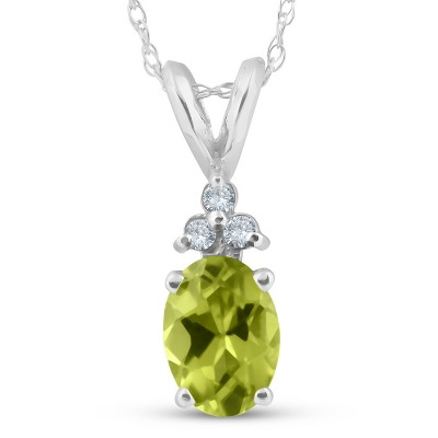 "Pompeii3 5/8ct Oval Peridot & Diamond Solitaire Pendant 14K White Gold With 18"" Chain"
