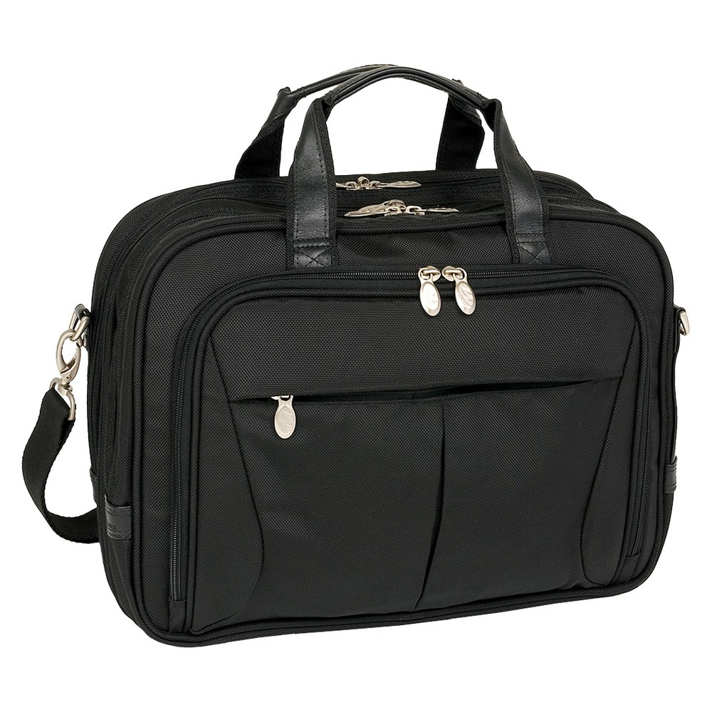 McKlein Pearson 17 Nylon Expandable Double Compartment Laptop Briefcase (Black)