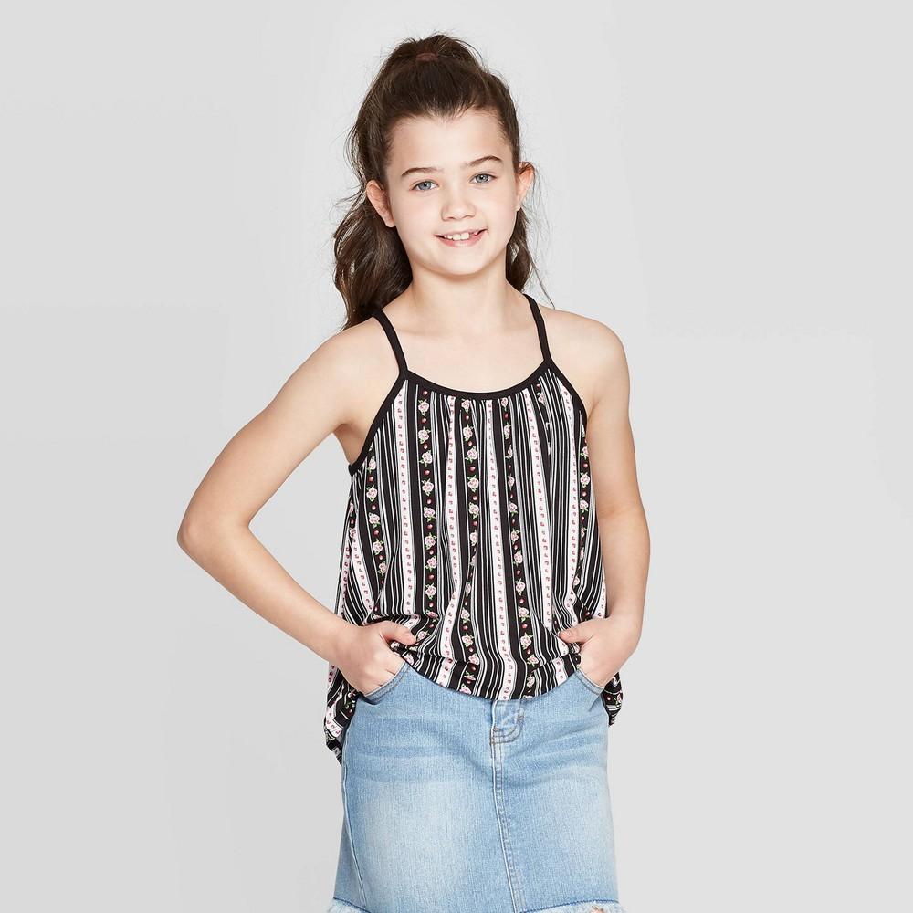 Image of Girls' Crochet Back Tank Top - art class Black M, Girl's, Size: Medium