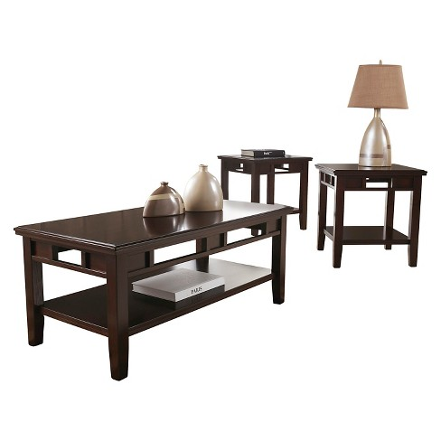 Logan Occasional Table Set - Dark Brown (Set of 3) - Signature Design by Ashley - image 1 of 3