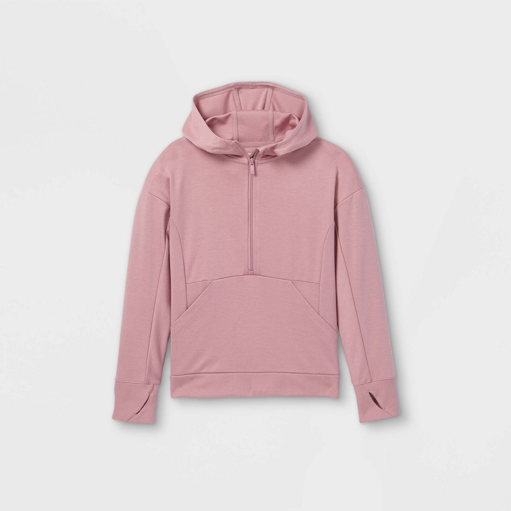 Girls 39 Ponte 1 2 Zip Hooded Sweatshirt All In Motion 8482 Rose Xs