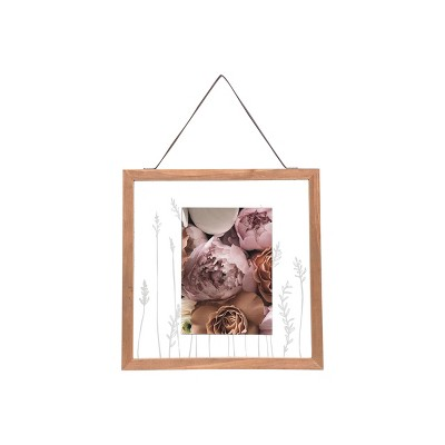 5 x 7 inch Wildflower Etched Glass Decorative Wood and Glass Picture Frame - Foreside Home & Garden