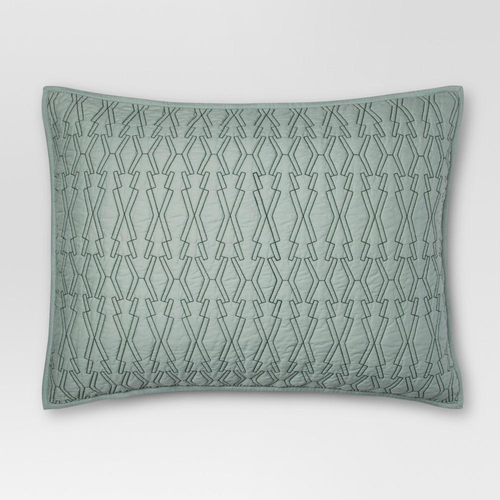 Green Contrast Stitch Sham (King) - Project 62