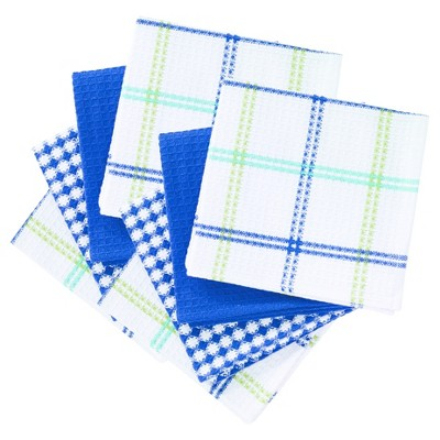 8pk Flat Waffle Kitchen Dish Cloths Blue - T-Fal