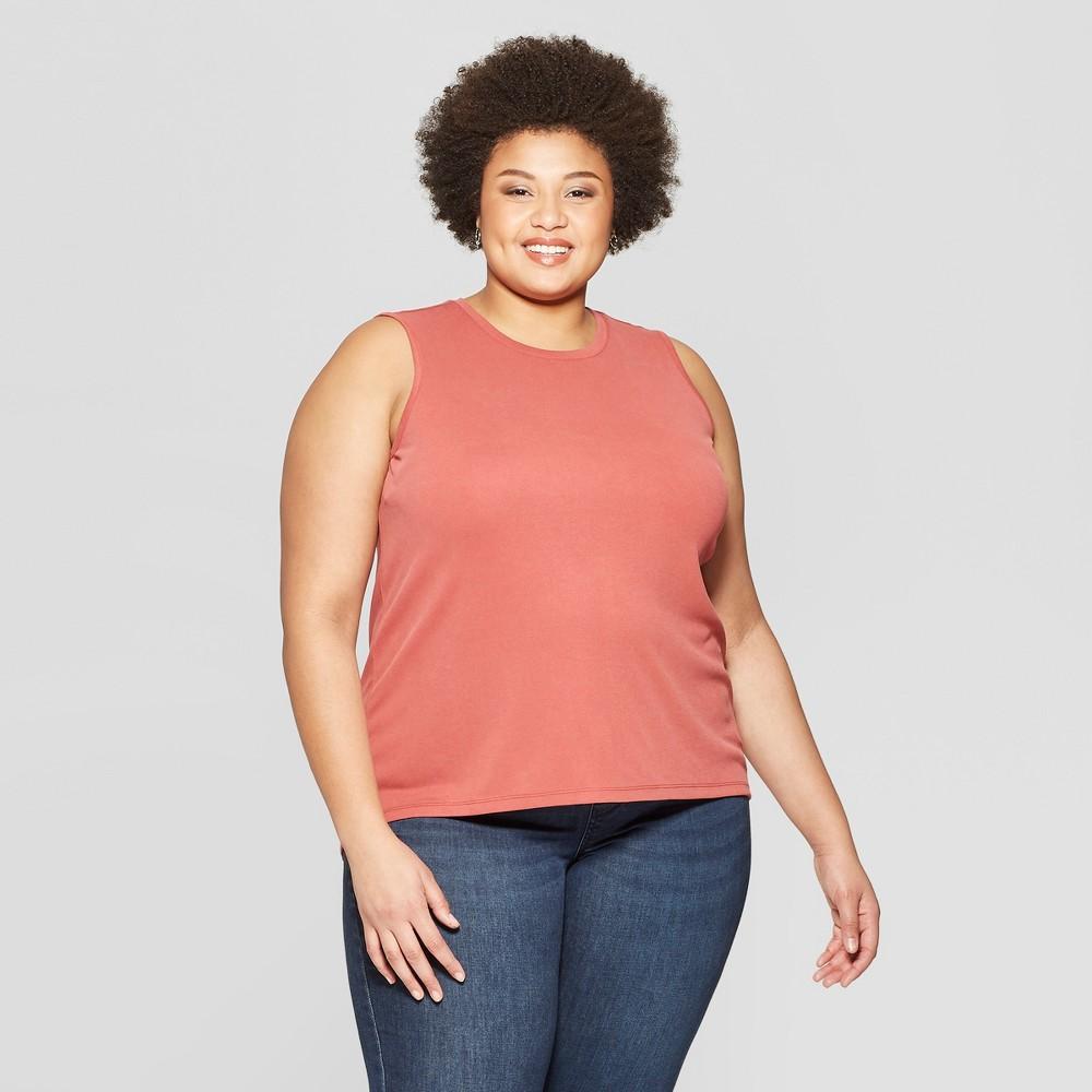 Women's Plus Size Crewneck Tank Top with Back Slit - Ava & Viv Rose (Pink) X