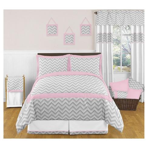 Gray Pink Zig Zag Comforter Set Full Queen Sweet Jojo Designs Target