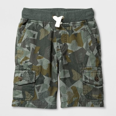 Toddler Boys' Pull-On Cargo Shorts - Cat & Jack™ Green Camo - 12 Months