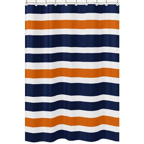 Striped Shower Curtain Navy - Sweet Jojo Designs - image 1 of 4