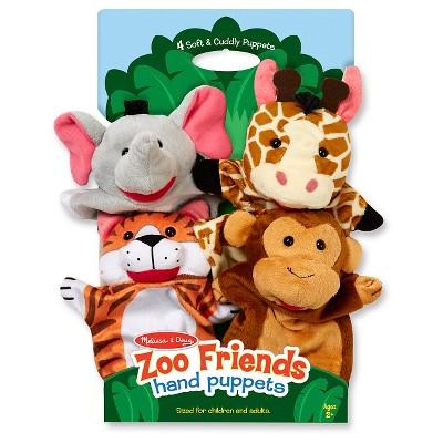 Melissa & Doug® Zoo Friends Hand Puppets (Set of 4)- Elephant, Giraffe, Tiger, and Monkey