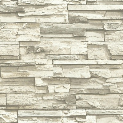 Natural Stacked Stone Peel And Stick Wallpaper Gray - RoomMates