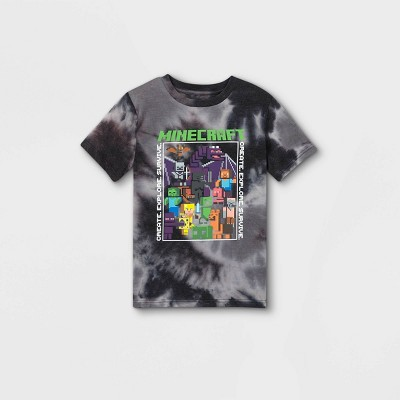 Boys' Minecraft Short Sleeve Graphic T-Shirt - Gray/Black