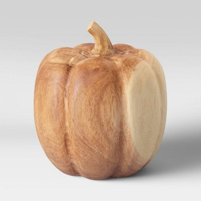 "6"" x 5.7"" Decorative Wood Pumpkin Sculpture Natural - Threshold™"