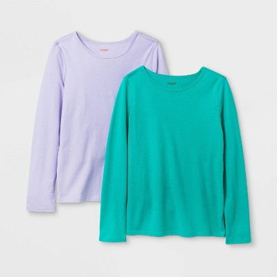 Girls' 2pk Adaptive Long Sleeve T-Shirt - Cat & Jack™ Purple/Green