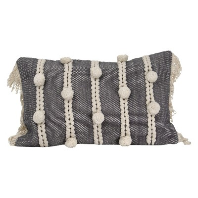 """Gray Striped Hand Woven 14x22"""" Cotton Decorative Throw Pillow with Hand Tied Fringe and Pom Poms - Foreside Home & Garden"""