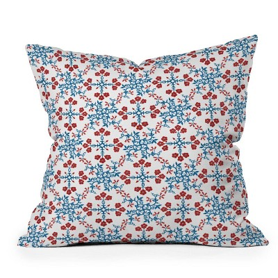 "16""x16"" Belle13 Retro Floral Patterned Square Throw Pillow Blue/Red - Deny Designs"