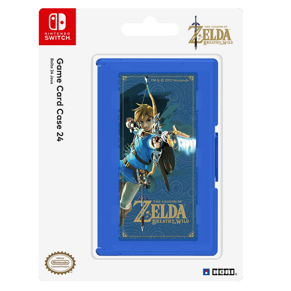 Nintendo Switch Zelda Breath of the Wild Edition 24-Game Card Case, Blue ・Officially Licensed by Nintendo ・Store and organize up to 24 Nintendo Switch Game Cards ・Features Zelda Breath of the Wild artwork ・Easy to pop game cards in and out ・Includes memory card holder Store and organize up to 24 Nintendo Switch Game Cards with this compact and convenient Game Card Case 24 featuring Zelda Breath of the Wild artwork. Easily pop games in and out each slot and snap shut for secure storage. Includes memory card holder for memory card storage. Officially Licensed by Nintendo. Color: Blue. Pattern: Fictitious character.