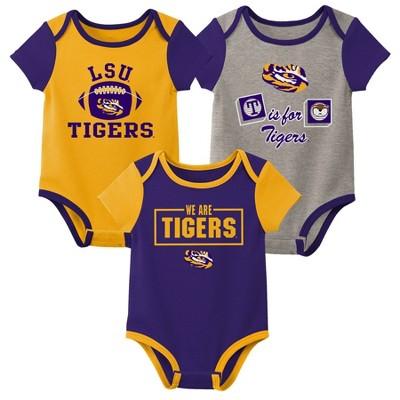 NCAA LSU Tigers Baby Boys' Short Sleeve 3pc Bodysuit Set