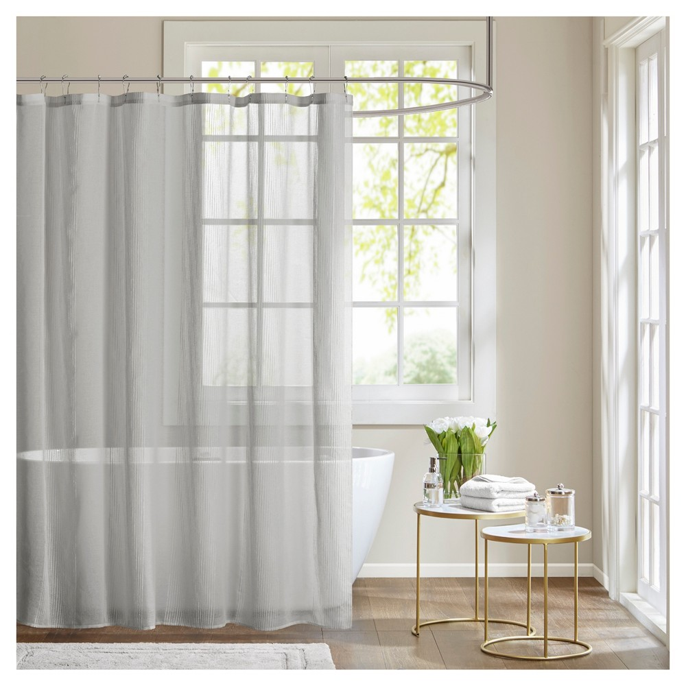 Image of Angie Sheer Shower Curtain - Gray