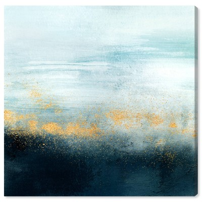"""12"""" x 12"""" Golden Powder over Mist Abstract Unframed Canvas Wall Art in Blue - Oliver Gal"""