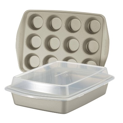 Rachael Ray 3pc Nonstick Bakeware Set Silver