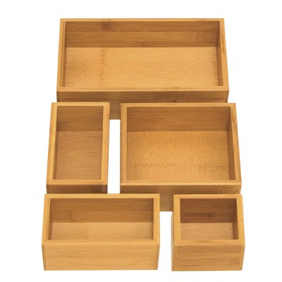 Seville 5pc Bamboo Organizer Boxes Brown (Assorted Sizes)