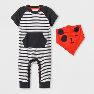 Baby Boys' Stripe Short Sleeve Romper with Kangaroo Pocket - Cat & Jack™ Gray Newborn