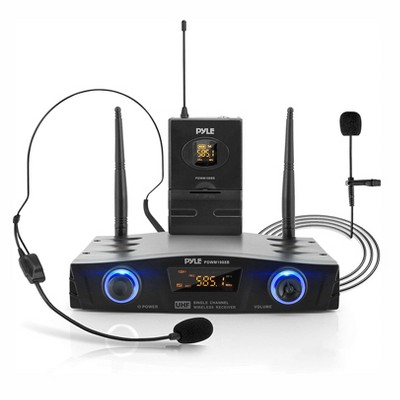 Pyle PDWM1988B Compact Wireless Portable PA Microphone Receiver Base System with Belt Pack Transmitter, Lavalier and Headset Microphones, Black