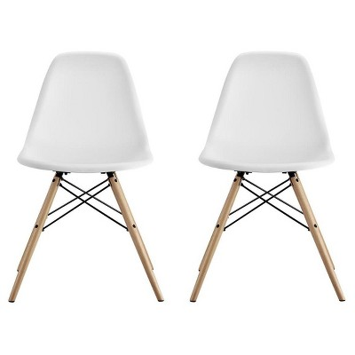 Mid Century Modern Molded Chair With Wood Leg (Set Of 2)- White - Dorel Home Products