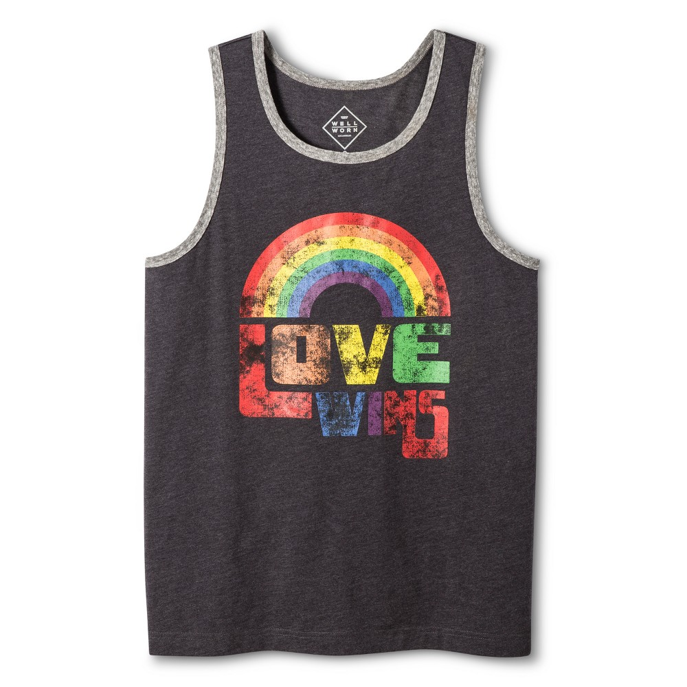 Pride Adult Gender Inclusive Love Wins Tank Top - Charcoal Heather M, Adult Unisex, Gray