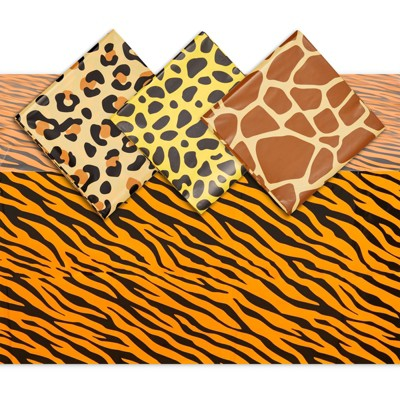 Sparkle and Bash 4 Pack Animal Print Table Covers for Zoo and Safari Party, 4 Designs (54 x 108 in)