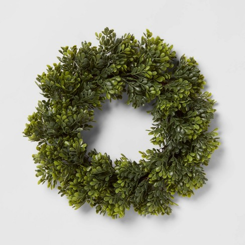 "12"" Artificial Faux Boxwood Wreath - Threshold™ - image 1 of 3"