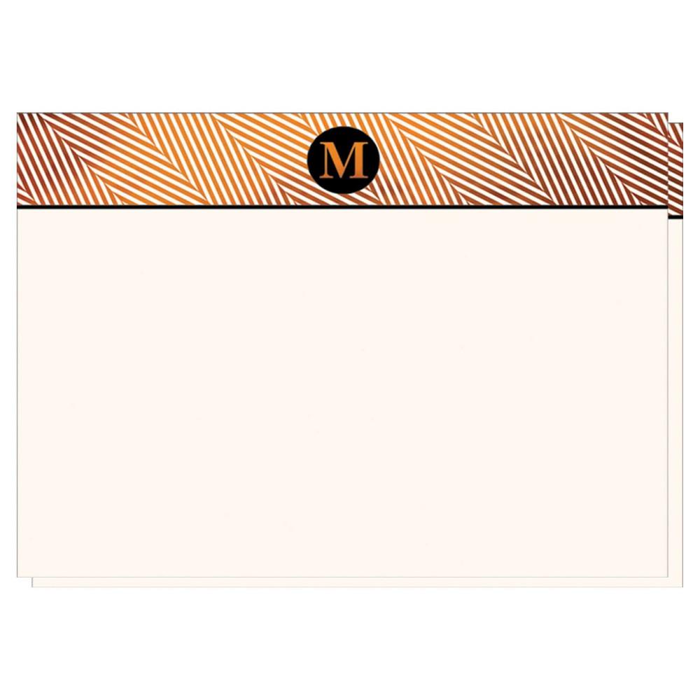 Herringbone Notecards Monogram M - 12ct, White M