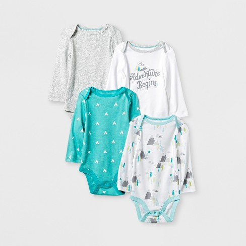 216407de3 Baby Boys' 4pk Long Sleeve Bodysuit White/Aqua Baby - Cloud Island™