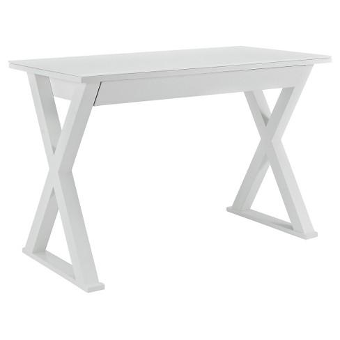 "Home Office 48"" Glass Metal Computer Desk - White - Saracina Home - image 1 of 3"