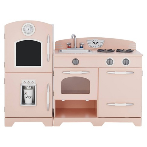 Teamson Kids Retro Wooden Play Kitchen - Pink (2pc)