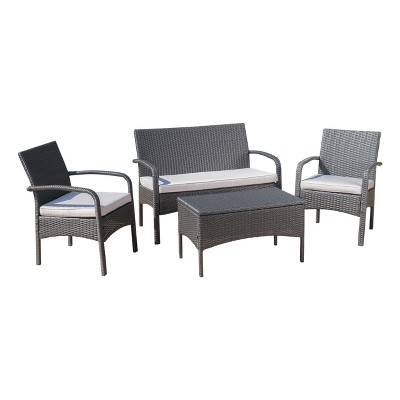 Cordoba 4pc Wicker Patio Chat Set with Cushions - Gray/Silver - Christopher Knight Home