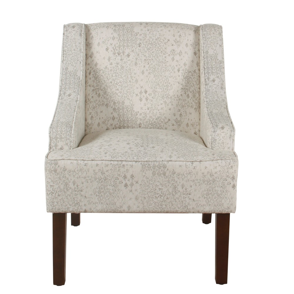 Image of Classic Swoop Arm Accent Chair Cream/Gray Vintage Stencil - Homepop
