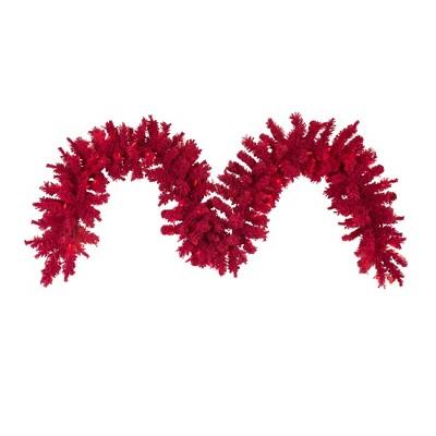 Vickerman Flocked Red Artificial Christmas Garland