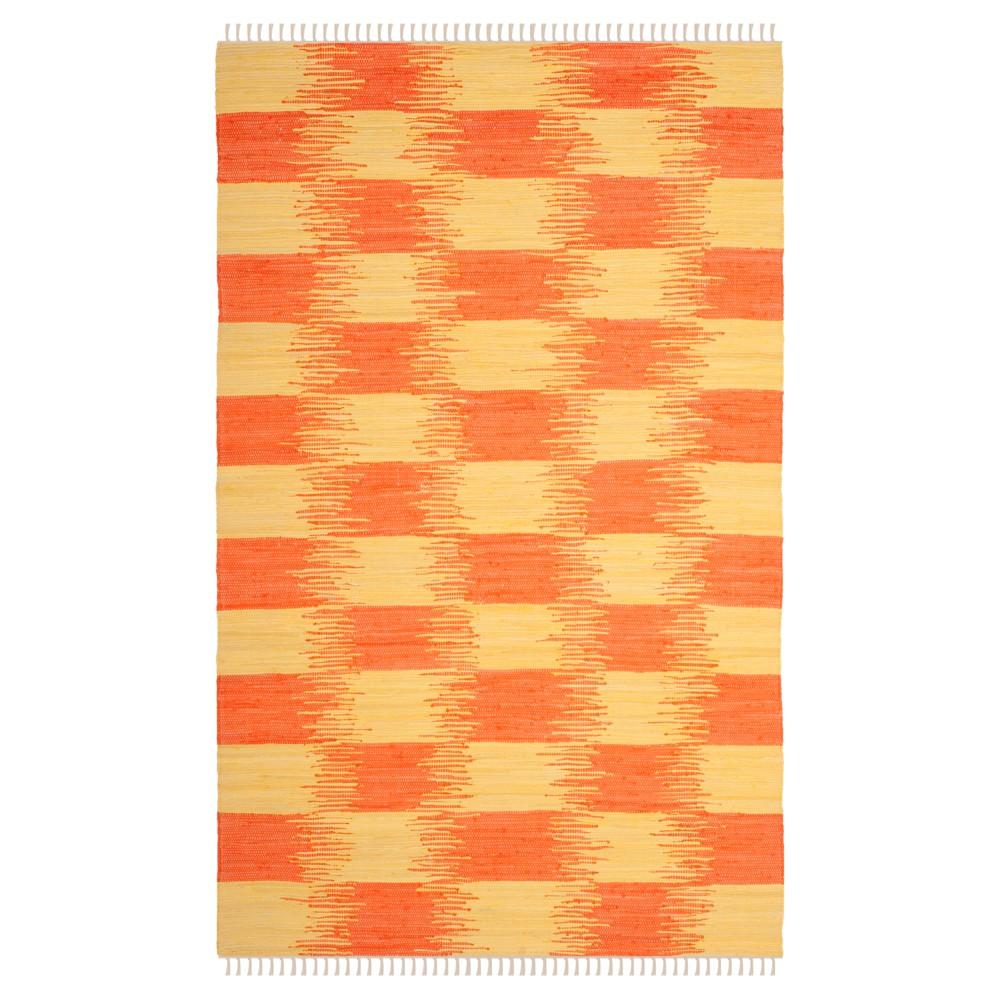 Yellow Orange Check Woven Area Rug 5 X8 Safavieh