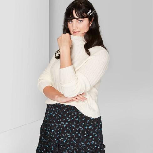 Women's Plus Size Long Sleeve Mock Turtleneck Sweater - Wild Fable™ Ivory - image 1 of 3