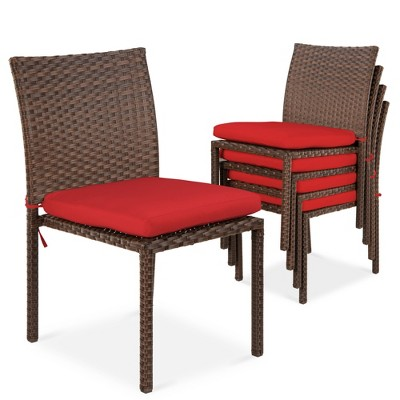 Best Choice Products Set of 4 Stackable Outdoor Patio Wicker Chairs w/ Cushions	UV-Resistant Finish