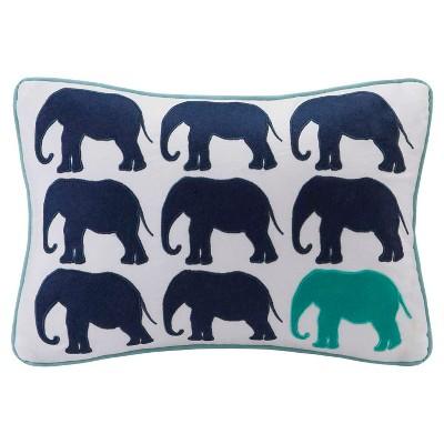 Aqua Lucky One Elephant Appliqued Cotton Oblong Throw Pillow - (14x20 )