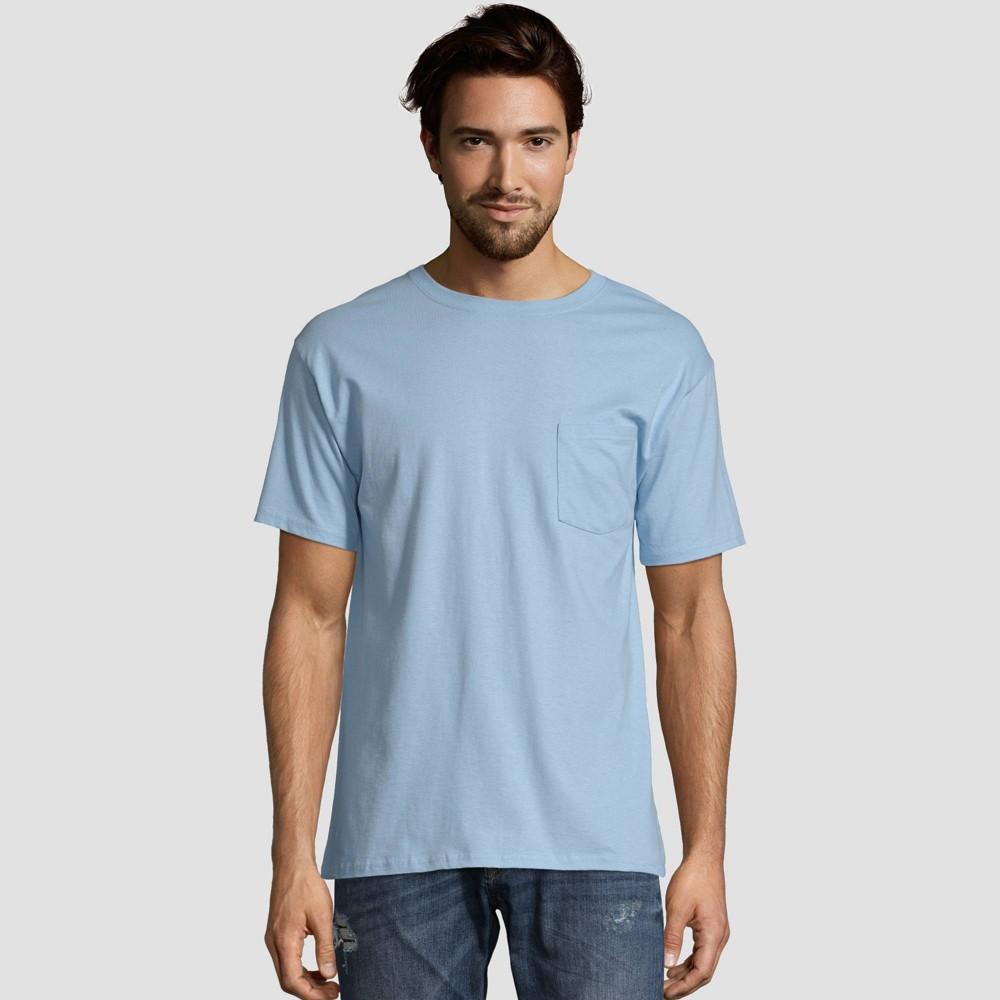 Hanes Men 39 S Heavyweight Crew Neck Short Sleeve T Shirt 2pk Light Blue Xl