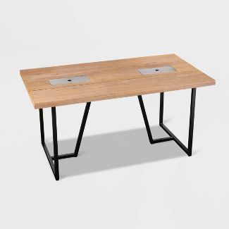 Kever Patio Dining Table with Drink Holder - Brown - Aiden Lane