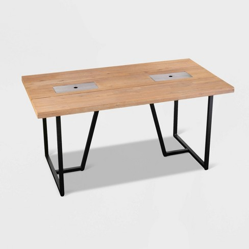 Kever Patio Dining Table with Drink Holder - Brown - Aiden Lane - image 1 of 4