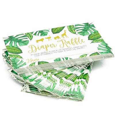 60 Counts Baby Shower Diaper Raffle Tickets, Lottery Invitation Insert Cards Baby Shower Game Supplies for Boys or Girls, Jungle Safari