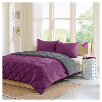 Purple/Charcoal Penny Reversible Comforter Mini Set Full/Queen 3pc