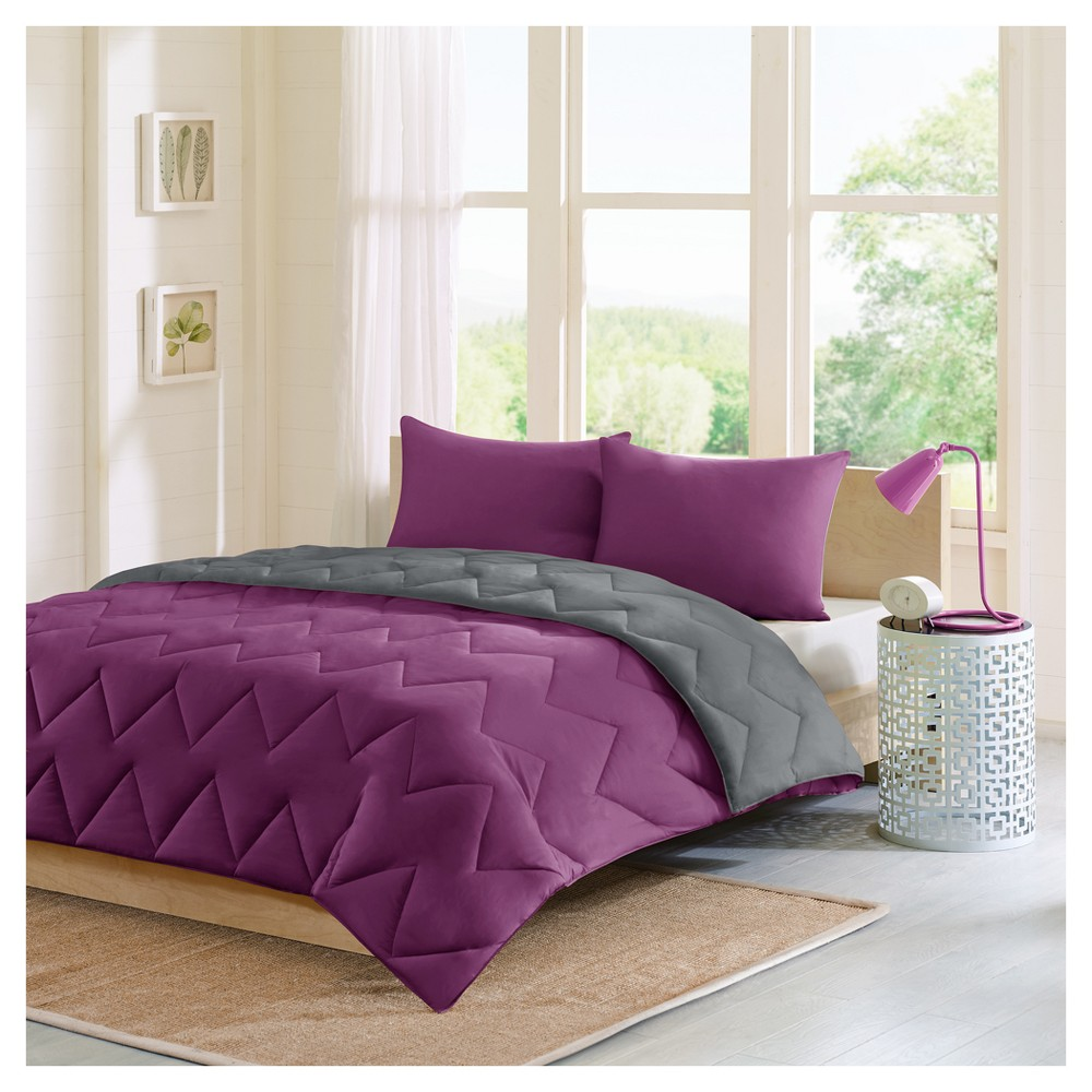 Purple/Charcoal Penny Reversible Comforter Mini Set King 3pc Jome, Purple/Grey